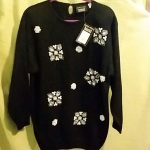Trimmings black embellished sweater